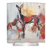 Hinds In Winter Shower Curtain