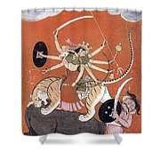 Hindu Goddess Durga Fights Mahishasur Shower Curtain by Photo Researchers