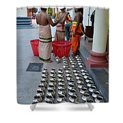 Hindu Priests Prepare Offering To Gods Shower Curtain