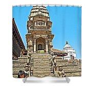 Hindu Temples In Bhaktapur Durbar Square In Bhaktapur-nepal Shower Curtain