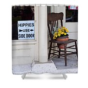 Hippies Use Side Door Shower Curtain by Louise Heusinkveld