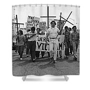 Hispanic Anti-viet Nam War March Tucson Arizona 1971 Black And White Shower Curtain