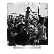 Hispanic Anti-viet Nam War Rally Tucson Arizona 1971 Black And White Shower Curtain