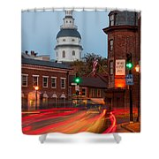 Historic Annapolis And Evening Traffic I Shower Curtain