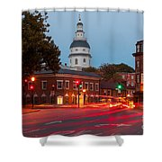 Historic Annapolis And Evening Traffic II Shower Curtain