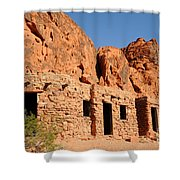 Historic Civilian Conservation Corps Stone Cabins In The Valley Of Fire Shower Curtain