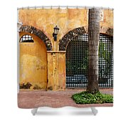 Historic Colonial Courtyard In Colombia Shower Curtain