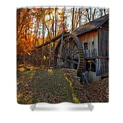 Historic Grist Mill With Fall Foliage Shower Curtain