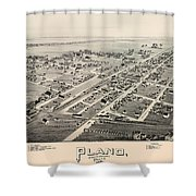 Historic Map Of Plano Texas 1891 Shower Curtain