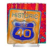 Historic Route 40 Pop Art Shower Curtain