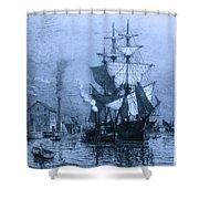 Historic Seaport Blue Schooner Shower Curtain