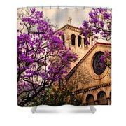 Historic Sierra Madre Congregational Church Among The Purple Jacaranda Trees  Shower Curtain