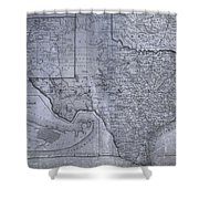 Historic Texas Map Shower Curtain by Dan Sproul