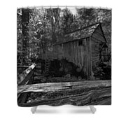 Historical 1868 Cades Cove Cable Mill In Black And White Shower Curtain