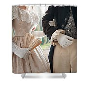 Historical Couple Arm In Arm Shower Curtain