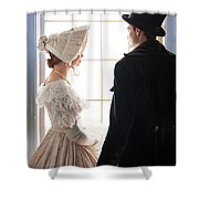 Historical Couple Standing By A Window Shower Curtain
