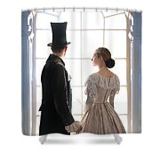 Historical Couple Standing In An Arched Window Shower Curtain