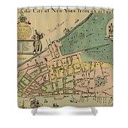 Historical Manhattan Map 1728 Shower Curtain