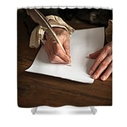Historical Senior Man Writing With A Quill Pen Shower Curtain
