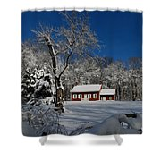 Historical Society House In The Snow Shower Curtain