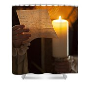 Historical Woman Reading A Letter By Candle Light Shower Curtain