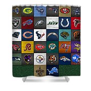 Hit The Gridiron Football League Retro Team Logos Recycled Vintage License Plate Art Shower Curtain
