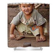 Hmong Boy Shower Curtain by Adam Romanowicz