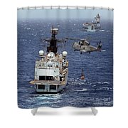 Hms Cornwall Is Pictured Receiving Stores By Merlin Helicopter  Shower Curtain