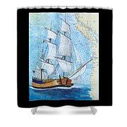 Hms Endeavour Tall Sailing Ship Chart Map Art Peek Shower Curtain