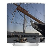 Hms Warrior Viewing The Spinnaker Tower Shower Curtain