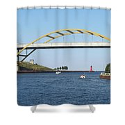 Hoan Bridge Boats Light House 1 Shower Curtain