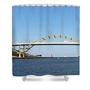 Hoan Bridge Boats Light House 4 Shower Curtain