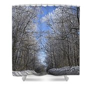 Hoar Frost On Campground Road Shower Curtain