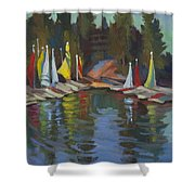 Hobie Cats At Lake Arrowhead Shower Curtain