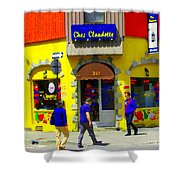 Hockey Art At Restaurant Chez  Claudette Plateau Montreal Sunny Street Scene Carole Spandau  Shower Curtain
