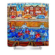 Hockey Art Collectible Cards And Prints Snowy Day  Neighborhood Rinks Verdun Montreal Art C Spandau Shower Curtain