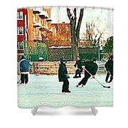 Hockey Art Shimmy Game Local Rink Montreal Paintings Winter Street Scene Verdun Art Carole Spandau Shower Curtain