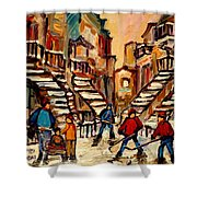 Hockey Game Near Winding Staircases Montreal Streetscene Shower Curtain by Carole Spandau
