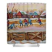 Hockey Game-outdoor Hockey -beautiful Canadian Winter Landscape-hockey Heroes-carole Spandau Shower Curtain
