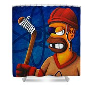 Hockey Homer Shower Curtain by Marlon Huynh