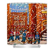 Hockey In The Laneway On Snowy Day Paintings Of Montreal Streets In Winter Carole Spandau Shower Curtain