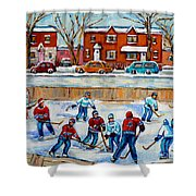 Hockey Rink At Van Horne Montreal Shower Curtain