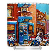 Hockey Stars At Wilensky's Diner Street Hockey Game Paintings Of Montreal Winter  Carole Spandau Shower Curtain