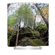 Hocking Hills Moss Covered Cliff Shower Curtain