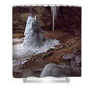 Hocking Hills Park Frozen Shower Curtain