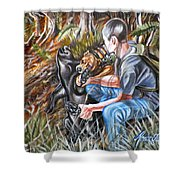 Hogdog And Hunter Shower Curtain