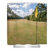 Hole Flag At A Golf Course Shower Curtain