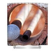 Hole In The Wall Shower Curtain by Fran Riley