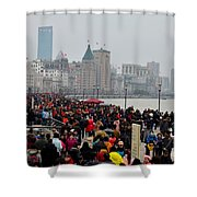 Holiday Crowds Throng The Bund In Shanghai China Shower Curtain