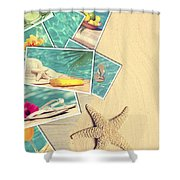 Holiday Postcards Shower Curtain by Amanda Elwell